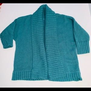 Loft Short Sleeved Cardigan Teal Colored Size M
